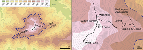 Fig. 3. Topography overall and close up. Waypoints (Table 1) and trails (GPS tracks) used during surveys. Elevation data from USGS (ASTER). Peak waypoints (Google Earth) show slight offset.